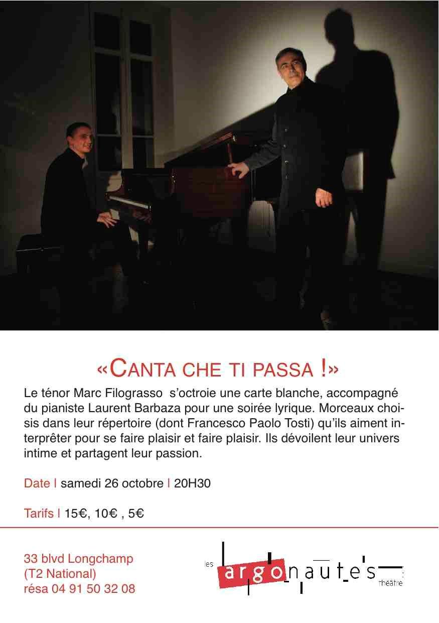 Canta che ti Passa! récital carte blanche  Filograsso/Barbaza